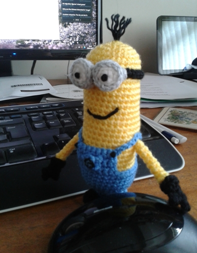 Kevin the minion at computer