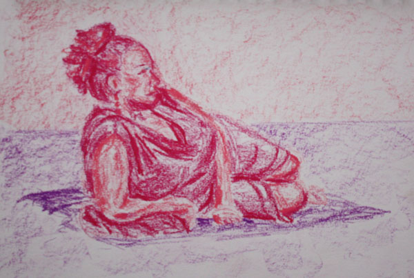 Oil pastels lying pose