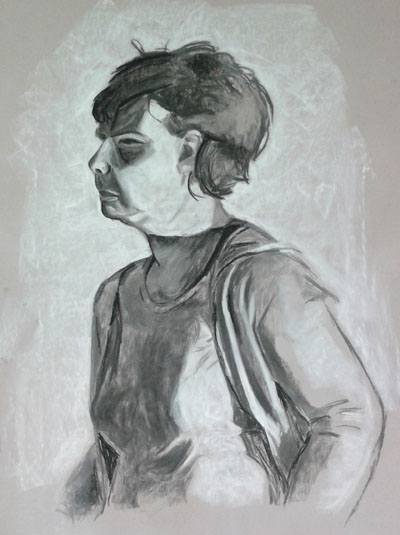 Drawing from second portraits class