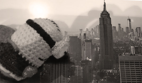 Superminion flying over New York
