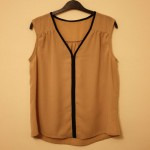V neck top with gathers and contrast trim