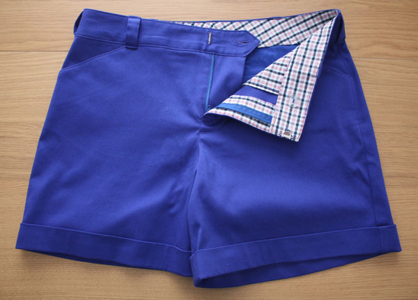 Blue Thurlow shorts fly zip and lining