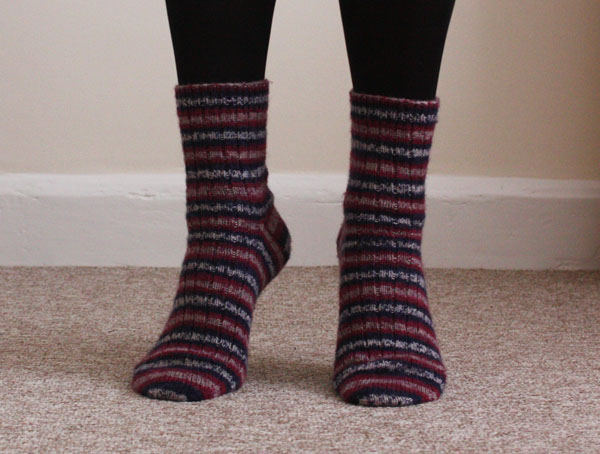 self striping socks front