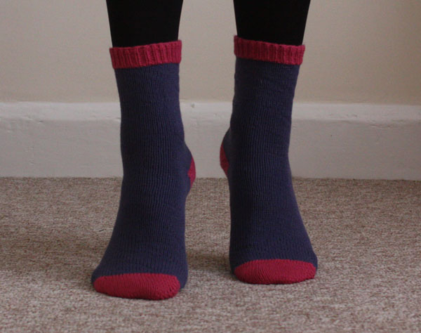 cuff down knitted socks