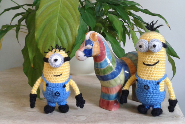 Crochet minions and horse ornament