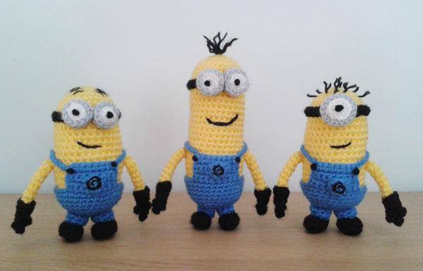 Three crochet minions