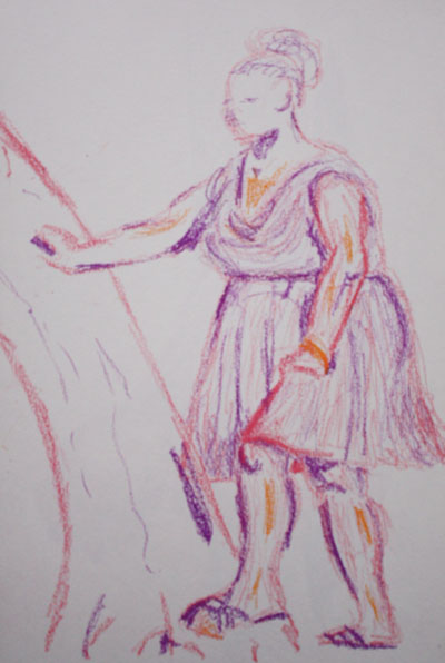 Oil pastels standing pose