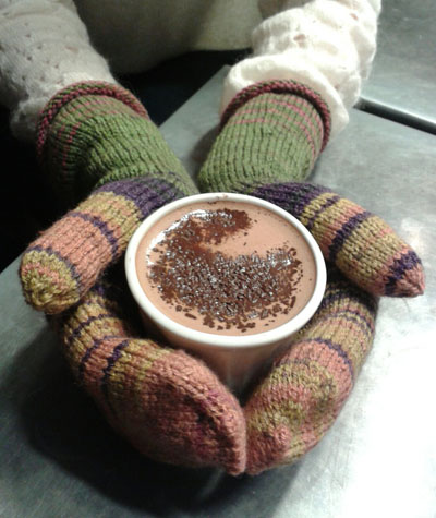 mittens and hot chocolate