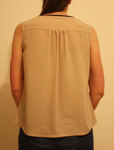 Beige V neck top back view