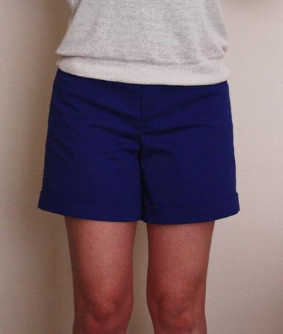 Blue Thurlow shorts front view