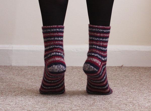 self striping socks back view