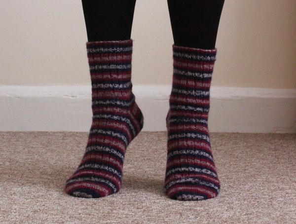 self striping socks front