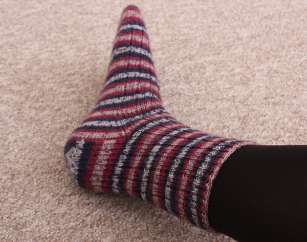 self striping socks side detail