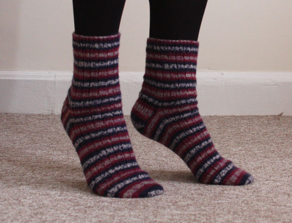 self striping socks side view