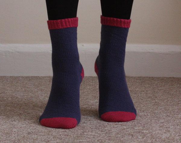 cuff down knitted socks
