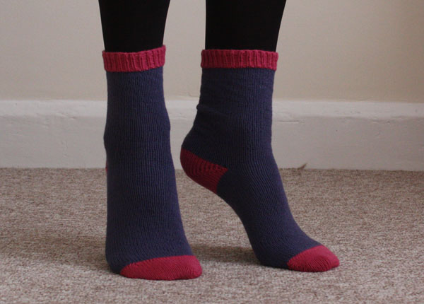 knitted cuff down socks