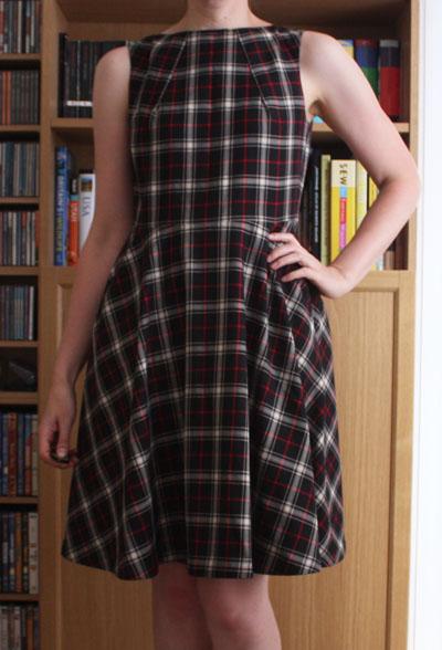 Neck pleat dress front