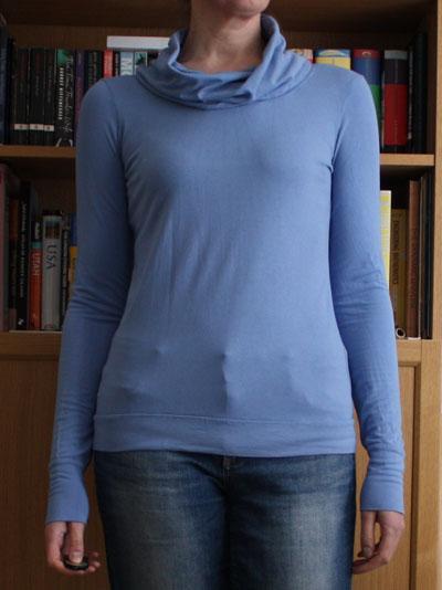 Sky blue long sleeve cowl neck Renfrew top