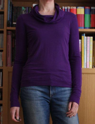 Purple long sleeve cowl neck Renfrew top