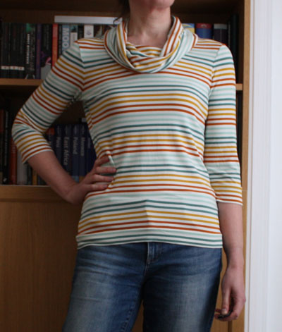 Gold and green stripe 3/4 sleeve cowl neck Renfrew top